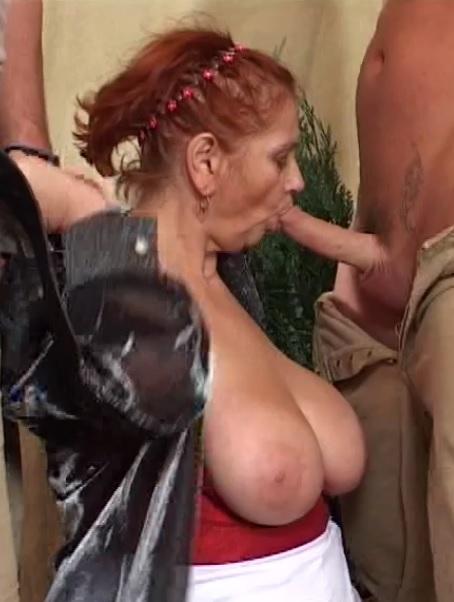 Granny Mathilda loves double dick