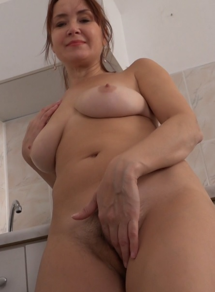 Lucy (44) in horny housewife Lucy playing with her unshaved pussy