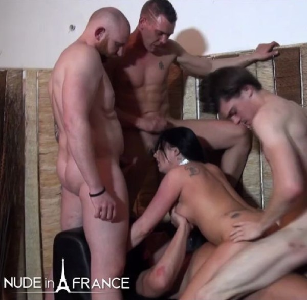 Busty 30 yo slut from Belgium double penetrated in a Gang Bang (Savannah) NudeInFrance [HD]