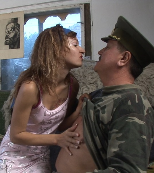 Gina X. 24 – Young girl taking orders from an old sarge