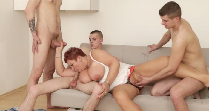 [Grandmams - Old women fucked crazy by some young guys] Busty Granny [Classy granny fucks three young guys] [FullHD]
