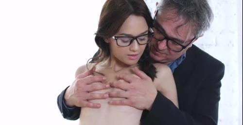 Michelle Can - Nerdy brunette in glasses seduces teacher with mini skirt