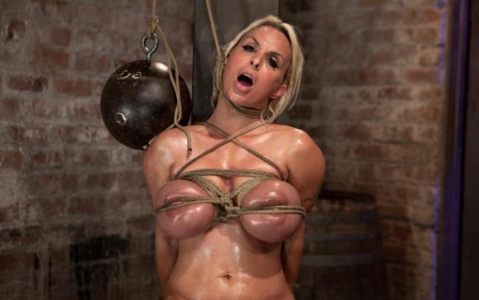 Kink - Holly Halston - American MILF Her massive breast oiled watered & bound, she cant stop cumming! [HD 720p]