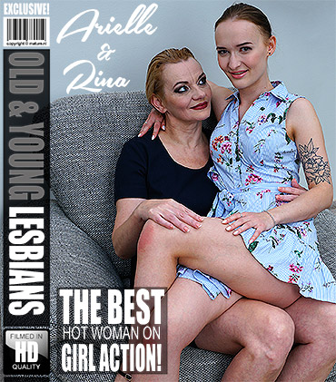 Arielle, Rina M. - Old and young lesbians Rina and Arielle playing with eachother [FullHD 1080p] - : Mature.nl / Mature.eu Жанр : Old - Young, Lesbian, Natural Tits, Strap-on