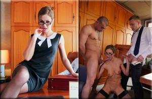 Tina Kay - MMF threesome and creampie in the classroom with British teacher (2018/SD)