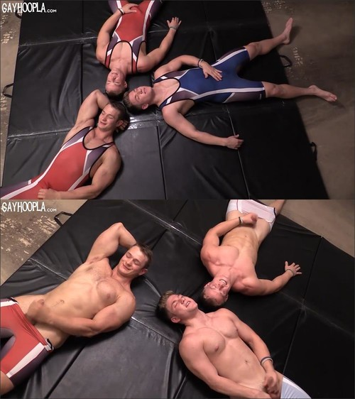 GayHoopla - Colt Mclaire with Tyler Hanson and Daniel Carter - Wrestling Buddies Jerk OFF