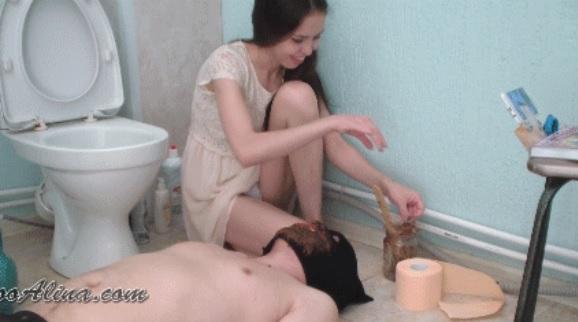 PooAlina - Toilet slave swallows Alina shit